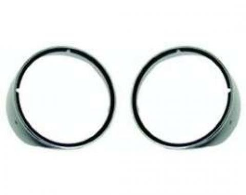 Camaro Headlight Bezels, For Cars With Standard Trim (Non-Rally Sport), With Chrome Trim Ring, Left & Right, 1969