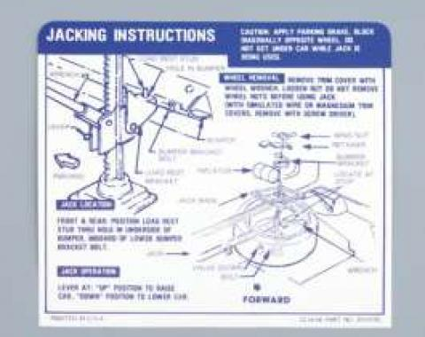Camaro Jacking Instructions Decal, Trunk, Convertible, 1967-1968
