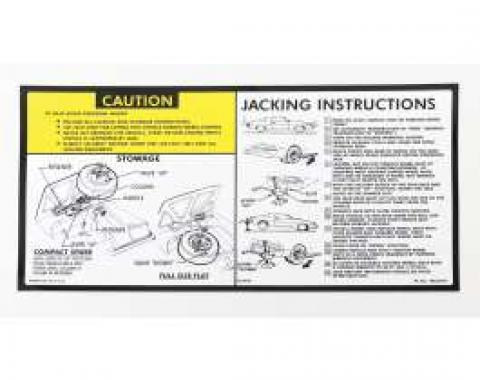 Camaro Jacking Instructions Decal, 1981