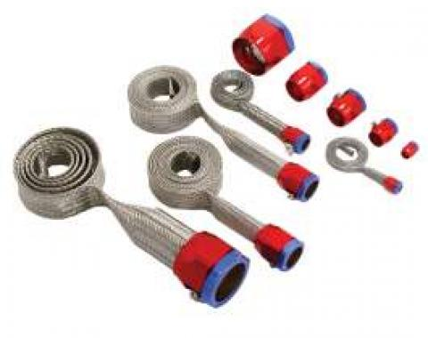 Camaro Hose Cover Kit, Universal, Stainless Steel, With Red/Blue Clamps,1967-2013