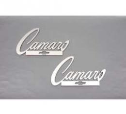 Camaro Taillight Panel Emblems, Camaro Script Logo With Bowtie, Stainless Steel, 1967-1969