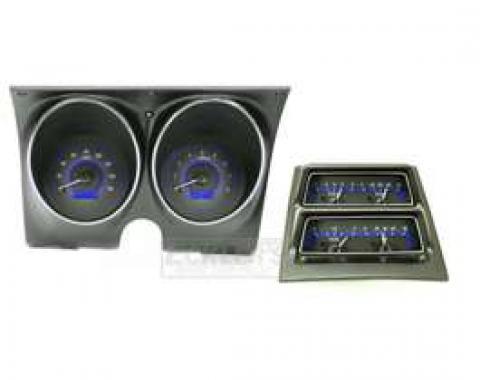 1968 Chevy Camaro Dakota Digital Dash With Console Gauges VHX System, Carbon Fiber Style Face, Blue Display