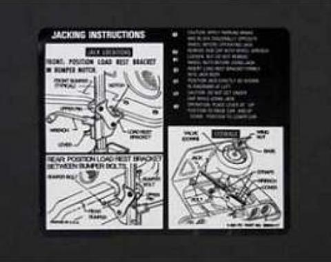 Camaro Jacking Instructions Decal, 1970