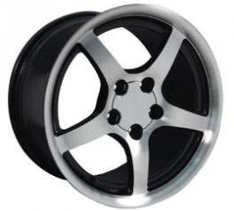 Camaro 17 X 9.5 C5 Style Deep Dish Reproduction Wheel, Black With Machined Face, 1993-2002