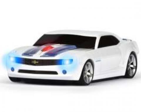 Camaro Computer Mouse, Wireless, White, Blue Stripes