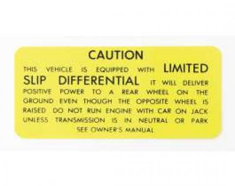 Camaro Posi-Traction Warning Trunk Decal, 1971-1973