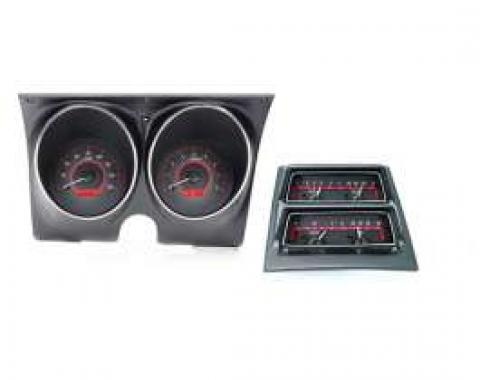 Camaro Analog Dash Gauges, Dakota Digital, Carbon Fiber With Red Display, 1968