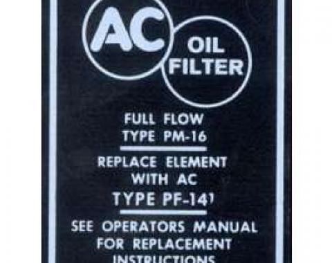 Camaro Oil Filter Canister Decal, AC, 1967