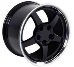 Camaro 17 X 9.5 C5 Style Reproduction Deep Dish Wheel, Black With Machined Lip, 1993-2002