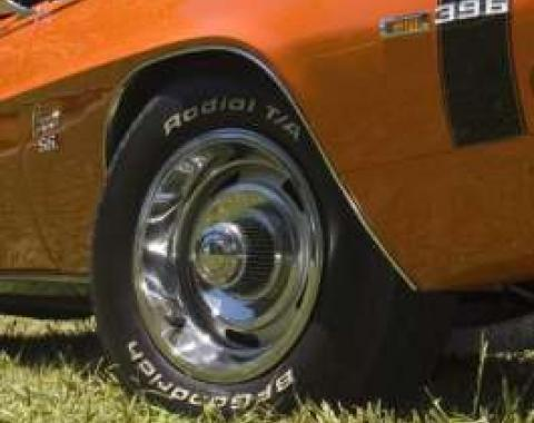 Camaro Rally Wheel Kit Staggered, Complete, With High Top Center Caps, 1968-1969