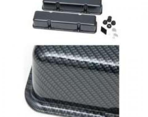 Camaro Valve Covers, Small Block, Gray/Black, Carbon Fiber Design, 1970-1981