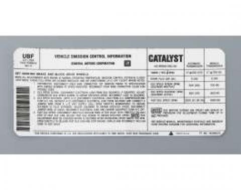 Camaro Decal, Emission Control, 5.0L, Automatic Or Manual Transmission, Code UBF, 1985