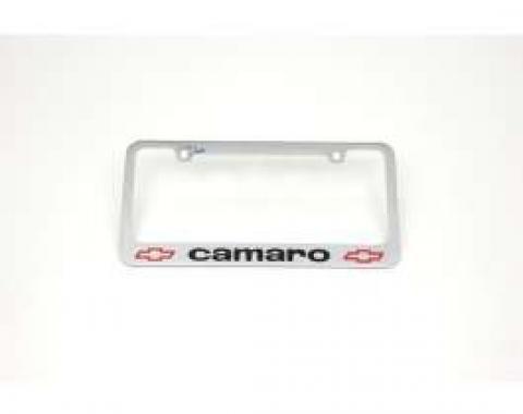 Camaro License Plate Frame, With Camaro Word & Bowtie Logos, 1967