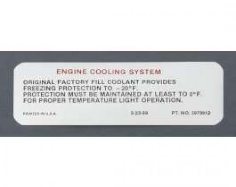 Camaro Cooling System Warning Decal, 1970-1971