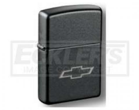 Black Steel Lighter, With Etched Chevy Bowtie, Zippo