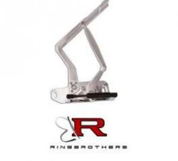 Camaro Hood Hinges, Billet Aluminum, Solid Frame, Natural, With Fiberglass Hood, 1970-1981