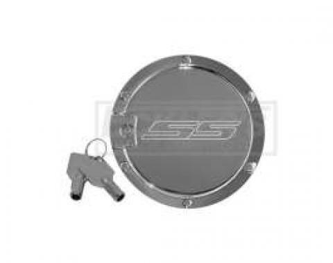 Camaro SS Logo Chrome Locking Fuel Door, DefenderWorx, 2010-2014