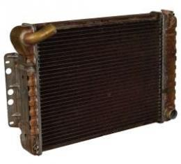 Camaro Radiator, 4-Row, 396 & 427ci, Curved Filler Neck, For Cars With Manual Transmission & Air Conditioning, Harrison, 1969