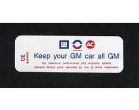 Camaro Air Cleaner Decal, Keep Your GM Car All GM, 250, 6-Cylinder, 1970