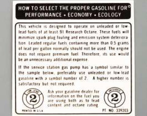 Camaro Decal, Fuel Recommendation, 1973-1974
