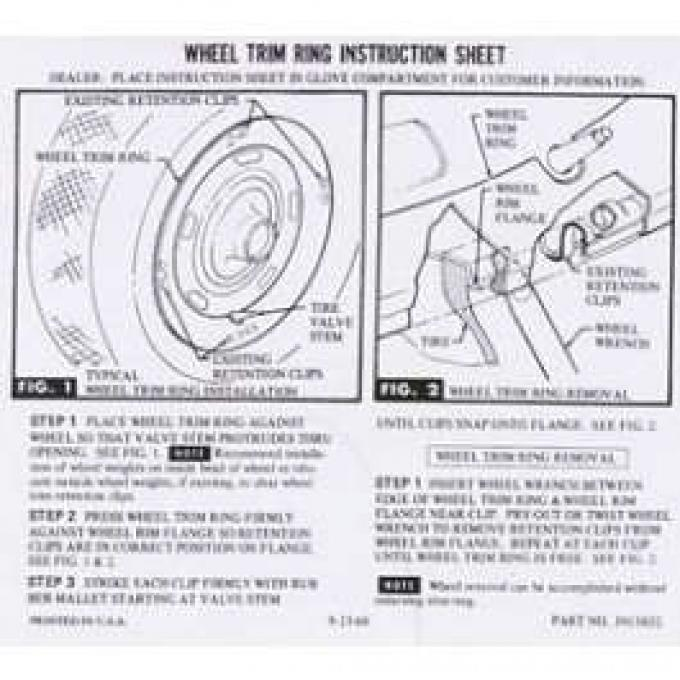 Camaro Rally Wheel Trim Ring Instruction Sheet, 1967-1969
