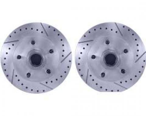 Camaro Brake Rotors, Front, Drilled & Slotted, 1967-1969