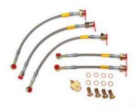 Camaro Braided Disc Brake Hose Kit, For Rear Disc Brakes, Stainless Steel, Goodridge, 1983