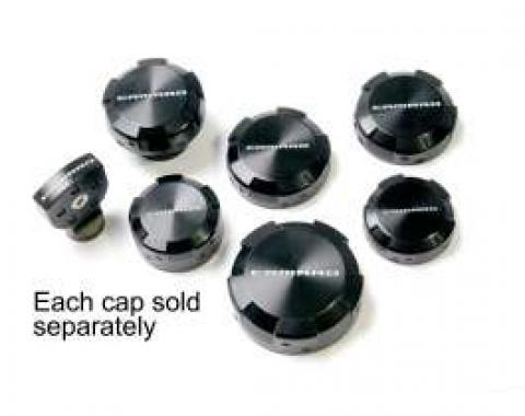 Camaro Washer Reservoir Cap, Black Billet Aluminum, With Camaro Name, 2010-2013