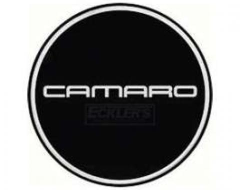 Camaro Wheel Center Cap Emblem, Chrome Logo, Black Background, GM, 1982-1992