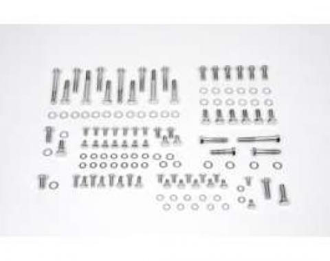 Camaro Engine Bolt Kit, Small Block, Chrome, For Cars With Stock Exhaust Manifolds, 1967-1969