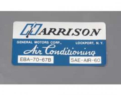Camaro Air Conditioning Evaporator Box Decal, Harrison, 1967