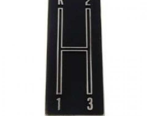 Camaro Console Shifter Plate Emblem, Manual Transmission, 3-Speed Shift Pattern, 1968-1969