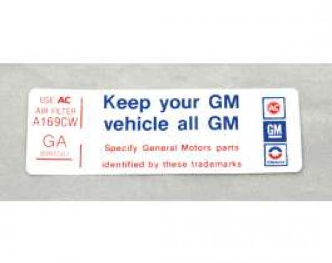 Camaro Air Cleaner Decal, Keep Your GM Car All GM, 250, 1977-1979