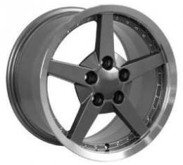 Camaro 18 X 8.5 C6 Style Deep Dish With Rivets Reproduction Wheel, Gunmetal, 1993-2002