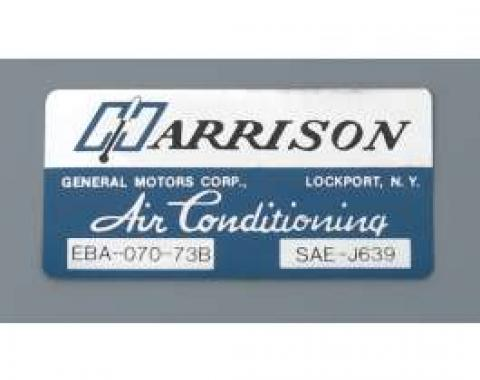Camaro Air Conditioning Evaporator Box Decal, Harrison, 1974