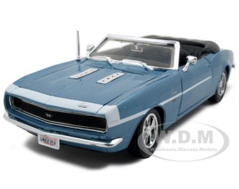 Camaro 1968 SS 396, 1/24 Convertible Blue Die Cast Model Car