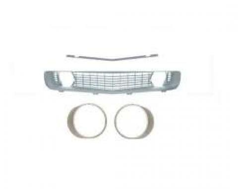 Camaro Grille Kit, With Silver Grille & Silver Headlight Bezels Without Trim, For Cars With Standard Trim (Non-Rally Sport), 1969