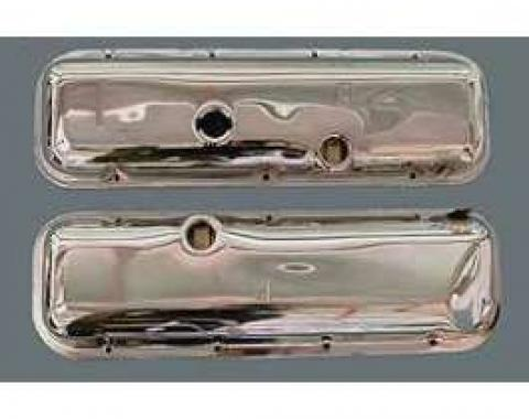 Camaro Valve Covers, Big Block, Chrome, With Power Brake Booster Dent, 1967-1972