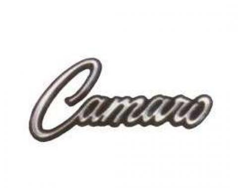 Camaro Glove Box Door Emblem, Camaro Script, With Mounting Clips, 1968