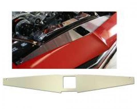 Camaro Core Support Filler Panel, Clear Anodized (Silver Satin), Heartbeat of America Logo, 1967-1969