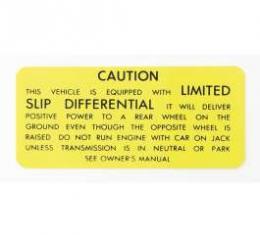 Camaro Posi-Traction Warning Trunk Decal, 1971-1973