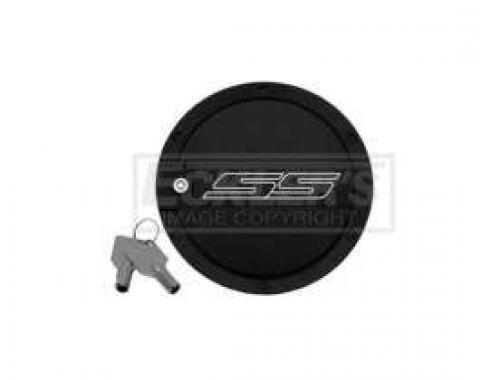Camaro SS Logo Two-Tone Locking Fuel Door, DefenderWorx, 2010-2014