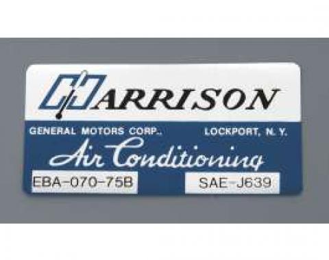 Camaro Air Conditioning Evaporator Box Decal, Harrison, 1975