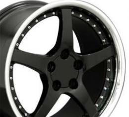 Camaro 18 X 9.5 C5 Style Deep Dish Reproduction Wheel, Black With Rivets, 1993-2002