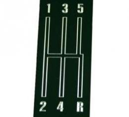 Camaro Center Console Shift Plate Emblem, 5-Speed, Black Anodized, 1968-1969