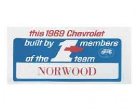 Camaro #1 Team Norwood Dash Card, 1969
