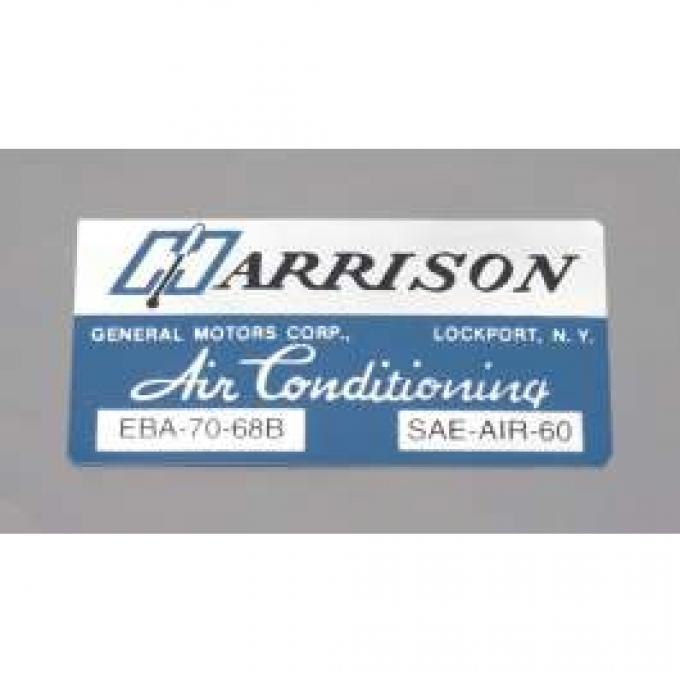 Camaro Air Conditioning Evaporator Box Decal, Harrison, 1968