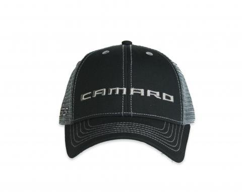 Camaro Black Structured Trucker Cap with Snapback Closure
