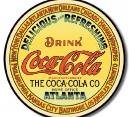 Tin Sign, COKE - Round Keg Label