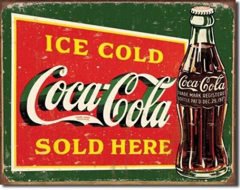 Tin Sign, COKE - Ice Cold Green